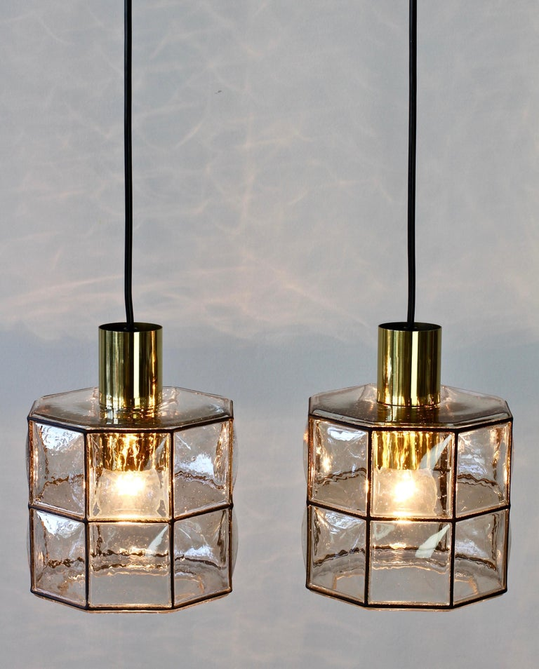 Limburg Glashütte Pair of Iron & Bubble Glass Vintage Pendant Lamps, circa 1960s In Good Condition For Sale In Landau an der Isar, Bayern