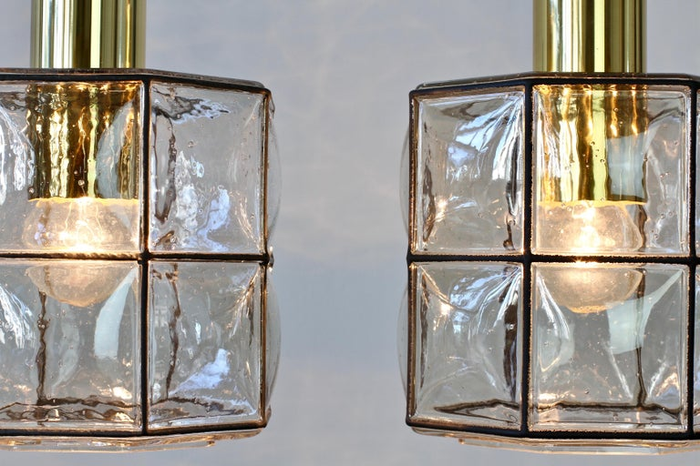 20th Century Limburg Glashütte Pair of Iron & Bubble Glass Vintage Pendant Lamps, circa 1960s For Sale