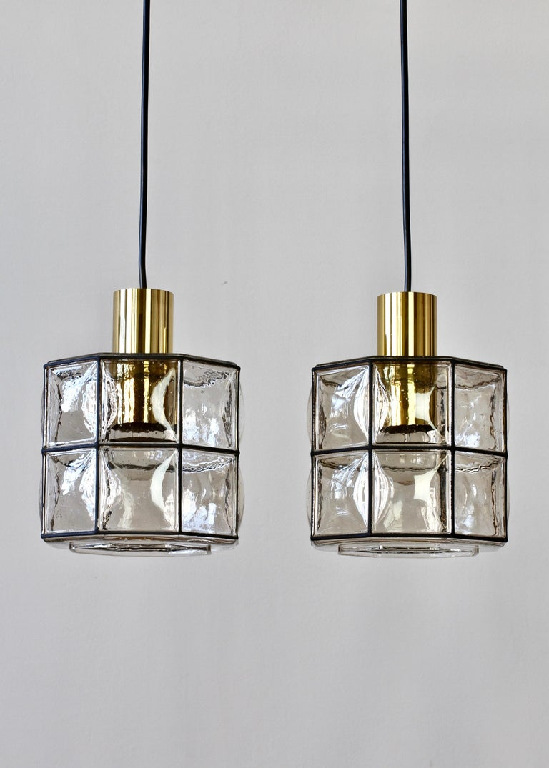 Brass Limburg Glashütte Pair of Iron & Bubble Glass Vintage Pendant Lamps, circa 1960s For Sale