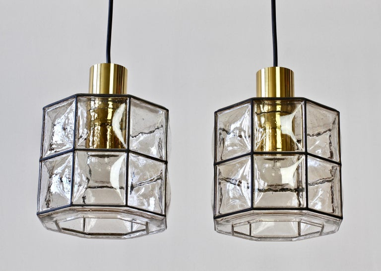Limburg Glashütte Pair of Iron & Bubble Glass Vintage Pendant Lamps, circa 1960s For Sale 1