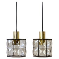 Limburg Glashütte Pair of Iron & Bubble Glass Vintage Pendant Lamps, circa 1960s