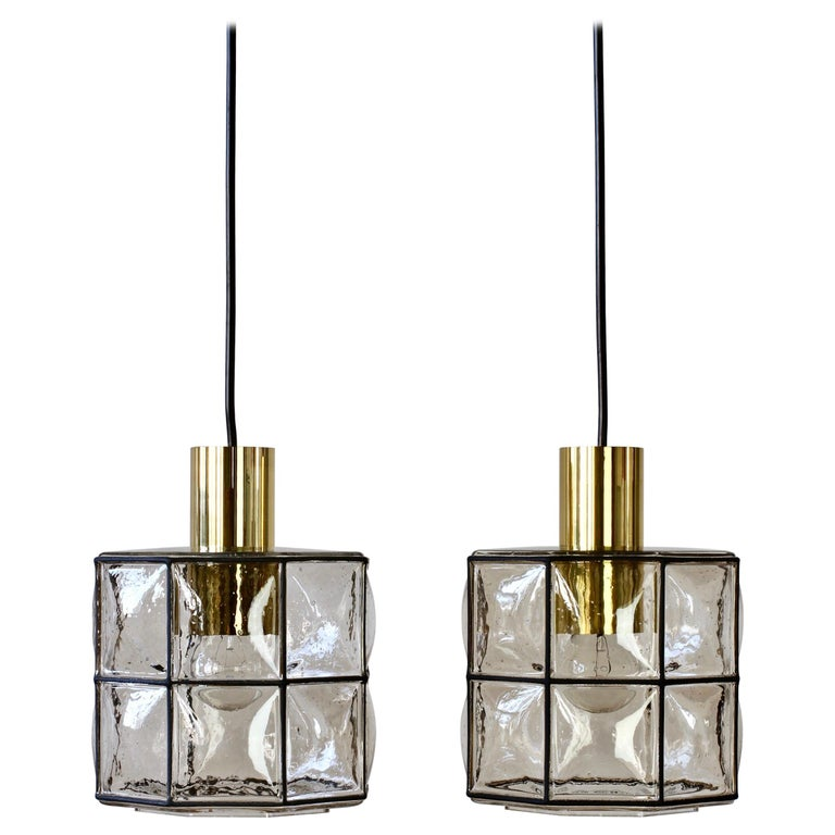 Limburg Glashütte Pair of Iron & Bubble Glass Vintage Pendant Lamps, circa 1960s For Sale