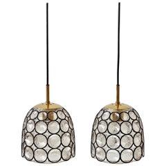"Limburg Glashütte, Paar ""Eisen"" Ringe Glas & Messing Lampen/Pendelleuchten, 1960er Jahre"