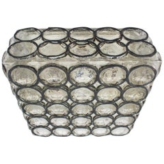 Limburg Large Square Iron Rings Glass Flush Mount Ceiling / Wall Light, 1960s