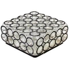 Limburg Large Square Iron Rings Glass Flushmount Ceiling / Wall Light, 1960s