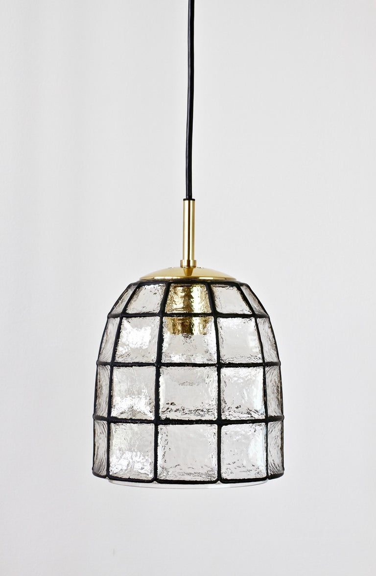 Limburg Midcentury Clear Glass And Brass Bell Pendant Light Lamp 1960s