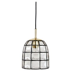Limburg Midcentury Clear Glass and Brass Bell Pendant Light / Lamp, 1960s