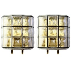 Limburg One of Six Large Mid-Century Pair of Iron and Bubble Glass Wall Lights