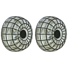 Limburg Pair of Large Vintage 1960s Black Iron & Glass Domed Wall Lights / Lamps