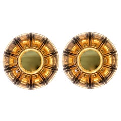 Limburg Pair of Topaz Toned Textured Glass Flush Mount Wall Lights or Sconces
