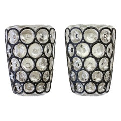 Limburg Pair of Vintage 1960s Black Iron Rings and Glass Wall Lights or Sconces
