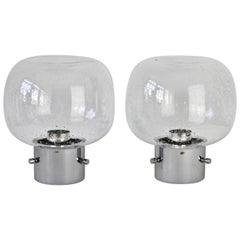 Limburg Pair of Vintage 1970s Clear Bubble Glass and Chrome Flush Mount Lights