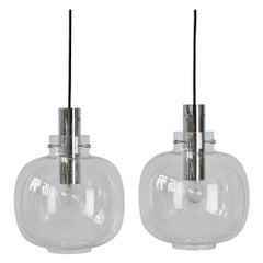 Limburg Pair of Vintage 1970s Clear Bubble Glass and Chrome Pendant Lights