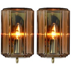 Limburg Pair of Vintage 1970s Smoked 'Topaz' Glass and Brass Wall Lights Lamps