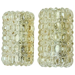 Limburg Pair of Vintage Amber Bubble Glass Wall Lights or Sconces, circa 1970s