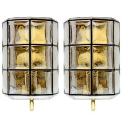 Limburg Pair of Vintage Iron and Bubble Glass Wall Lights Sconces, circa 1965