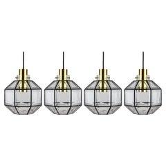 Limburg Set of Four Large Vintage Minimalist Iron & Glass Pendant Lights, 1960s