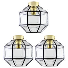 Limburg Set of Three Large Vintage Iron and Clear Glass Flush Mount Lights
