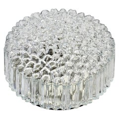 Limburg Vintage 1970s Textured Clear Glass 'Ice Crystals' Flush Mount Wall Light