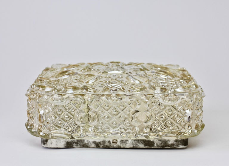 Limburg Vintage 1970s Wall Light Textured Champagne Toned Glass Flushmount For Sale 2