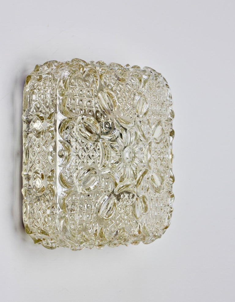 Molded Limburg Vintage 1970s Wall Light Textured Champagne Toned Glass Flushmount For Sale