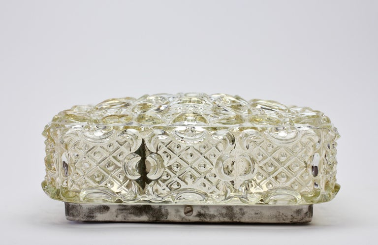 20th Century Limburg Vintage 1970s Wall Light Textured Champagne Toned Glass Flushmount For Sale