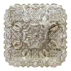 Limburg Vintage 1970s Wall Light Textured Champagne Toned Glass Flushmount