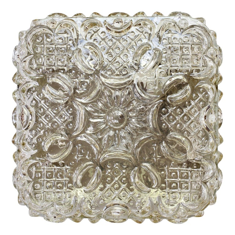 Limburg Vintage 1970s Wall Light Textured Champagne Toned Glass Flushmount For Sale