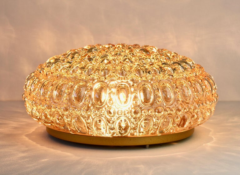Painted Limburg Pair of 1970s Vintage Amber Bubble Glass Flush Mount Lights or Lamps For Sale