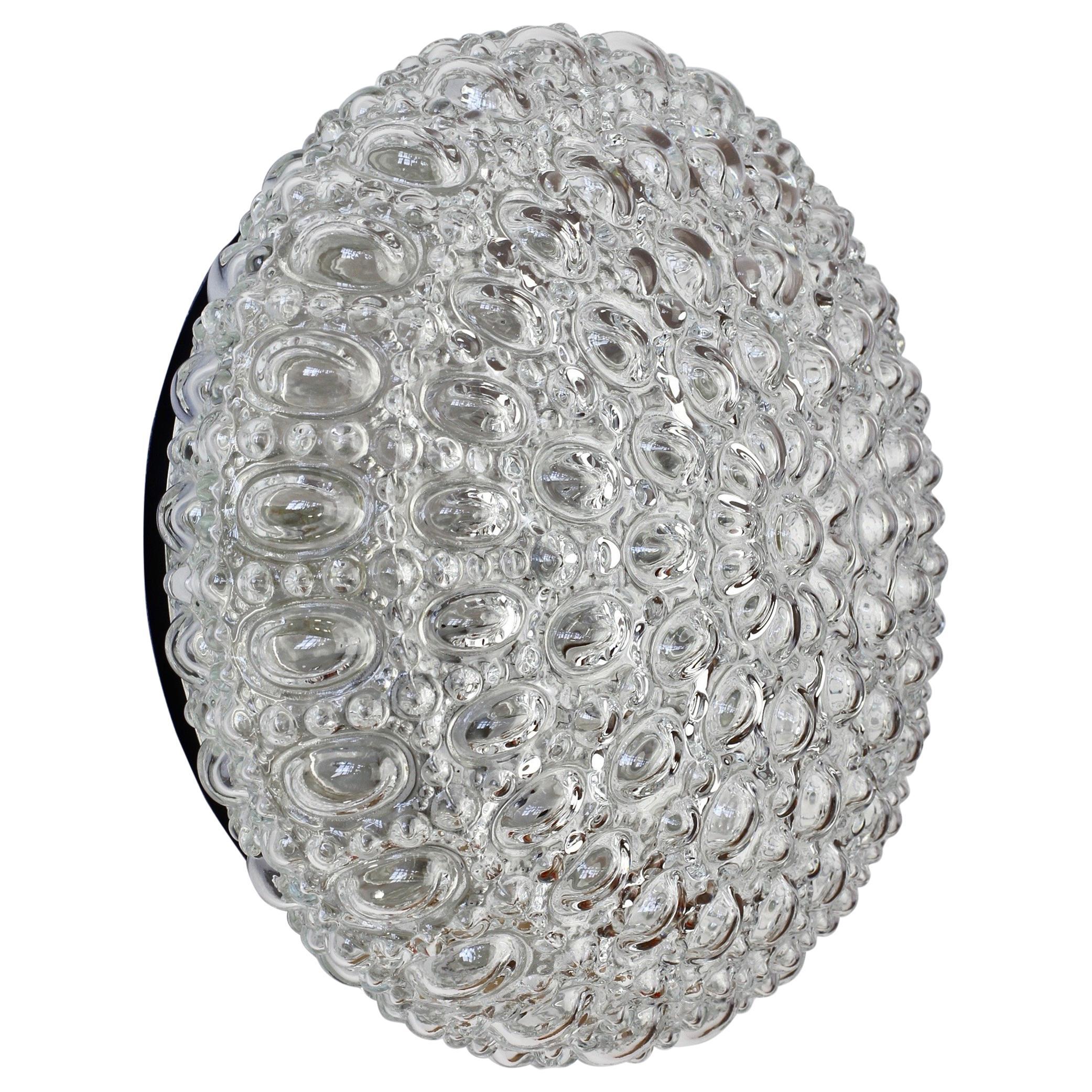 Limburg Vintage Clear Bubble Glass Flush Mount Wall Light / Lamp 1970s