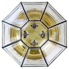 Limburg Vintage Extra Large Octagonal Iron and Clear Glass Flushmount Light