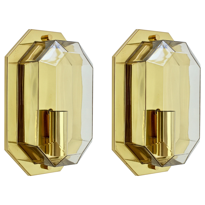 Limburg Vintage Pair of Geometric Clear Glass & Brass Wall Lights/Sconces, 1980s