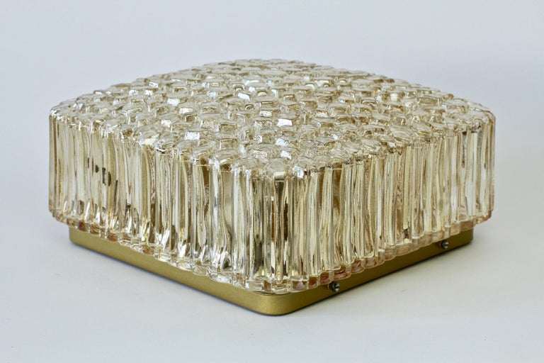 Limburg Vintage Wall Light 1970s Organic Textured Amber Toned Glass Flush Mount For Sale 3