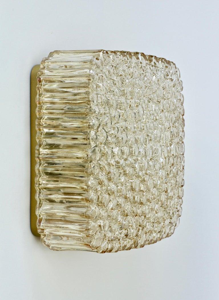 Mid-Century Modern Limburg Vintage Wall Light 1970s Organic Textured Amber Toned Glass Flush Mount For Sale