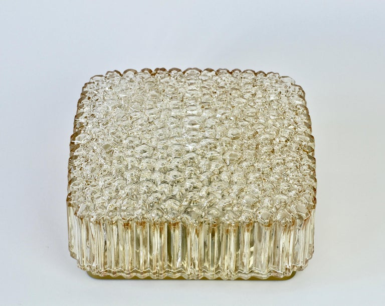 20th Century Limburg Vintage Wall Light 1970s Organic Textured Amber Toned Glass Flush Mount For Sale