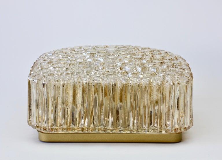 Metal Limburg Vintage Wall Light 1970s Organic Textured Amber Toned Glass Flush Mount For Sale