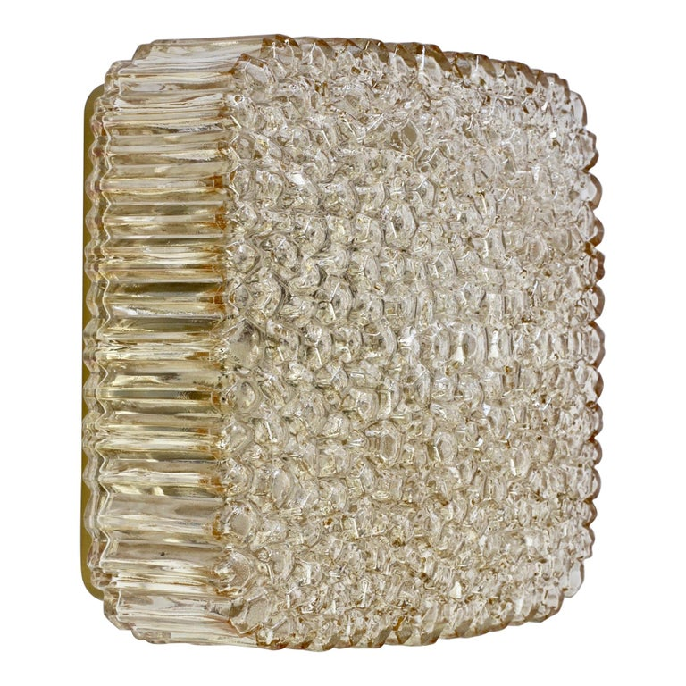Limburg Vintage Wall Light 1970s Organic Textured Amber Toned Glass Flush Mount For Sale