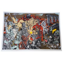 Limbus Fatu Orum Map of a Mechanical Opera by Jay Bolotin Woodcut Print, 1992