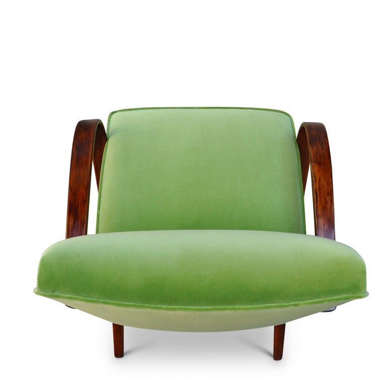 Art Deco Lime Bentwood Armchair For Sale