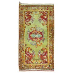 Lime Green Antique Turkish Rug, 20th Century