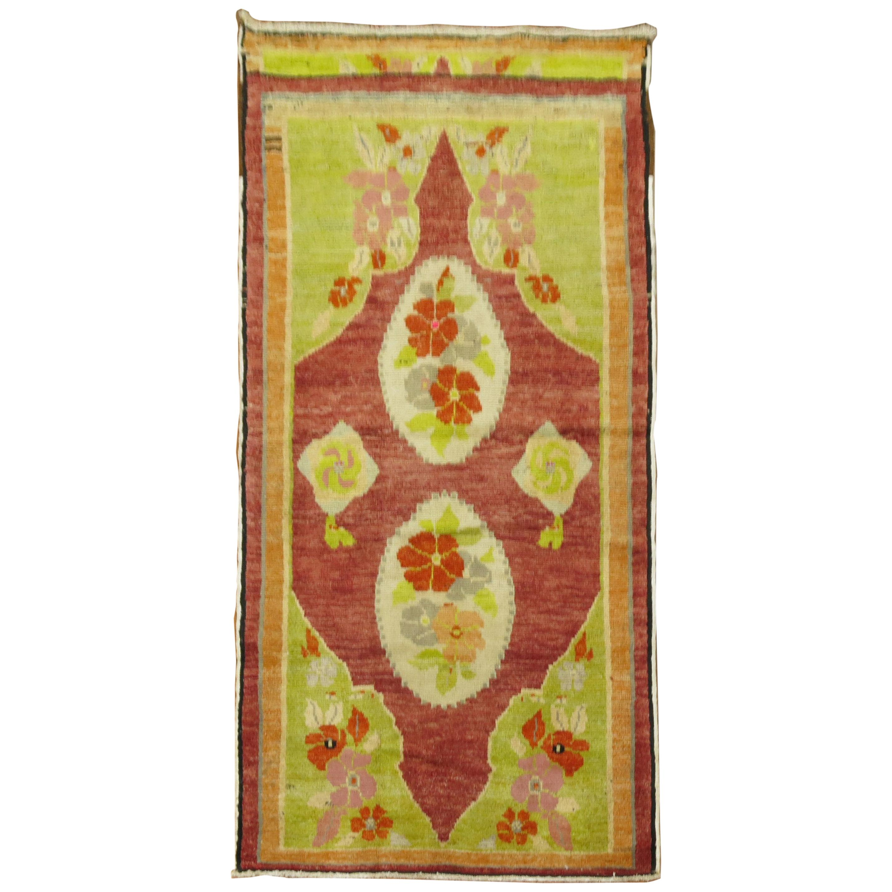 Lime Green Bright Red 20th Century Turkish Runner