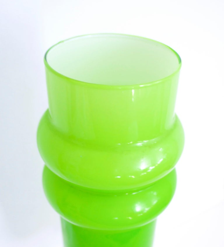 Scandinavian Lime Green Hooped Vase by Ryd, 1965 For Sale