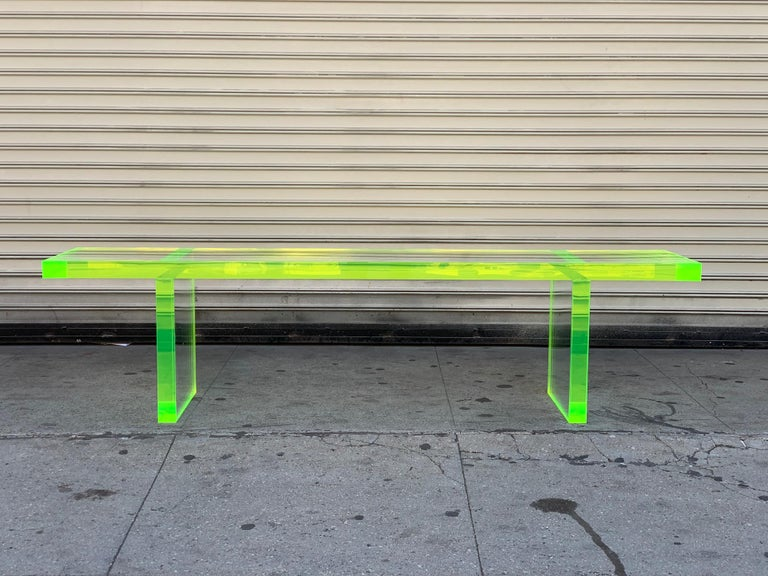 Lime Green Lucite Bench by Cain Modern For Sale 7