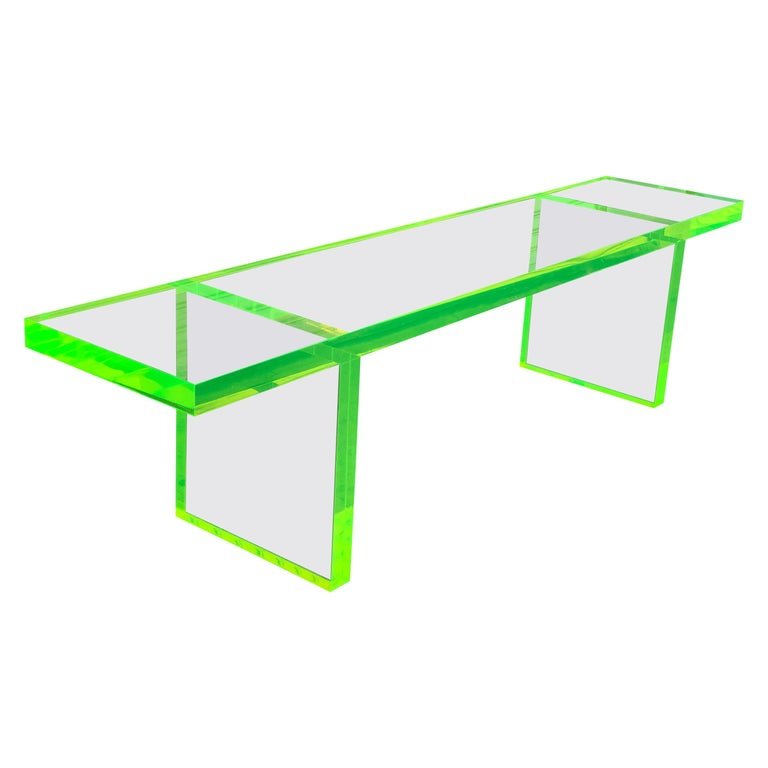 Lime Green Lucite Bench by Cain Modern For Sale