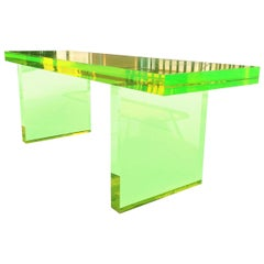 Lime Green Lucite Bench by Cain Modern