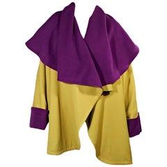 Lime Green & Purple Vintage Gianni Versace Wool Coat