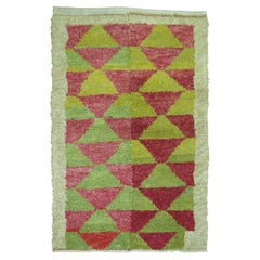 Lime Green Red Accent Vintage Turkish Hand Knotted 20th Century Shag Rug