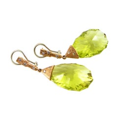 Lime Quartz Earrings in 18 Karat Yellow Gold with Diamonds