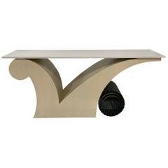Limed Oak Art Deco Style White Quartz Top Console Table