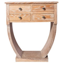 Limed Oak Console Table with Drawers, Art Deco Period, France, circa 1940